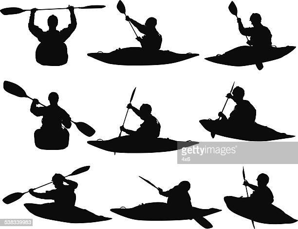 people water rafting - multiple image stock illustrations, clip art, cartoons, & icons