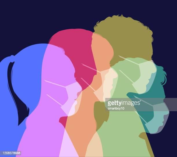 ilustraciones, imágenes clip art, dibujos animados e iconos de stock de personas que usan máscaras faciales médicas - cuarentena