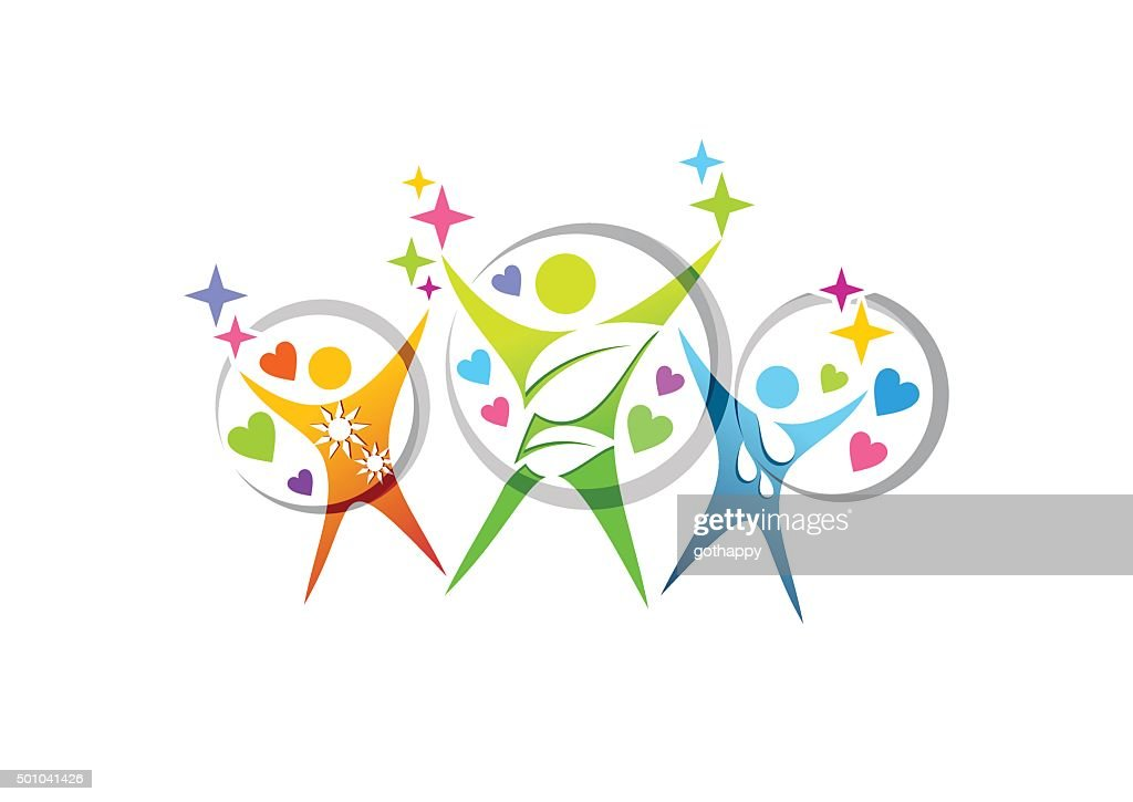 people wellness health family education logo symbol icon vector design