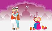People wishing Eid Mubarak.