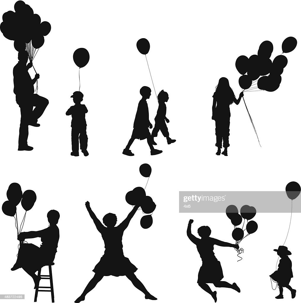 People With Balloons Stock Illustration