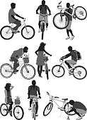 People with bicycles