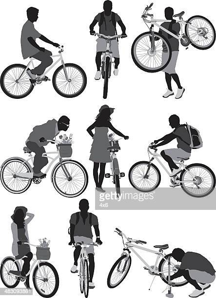 people with bicycles - front view stock illustrations