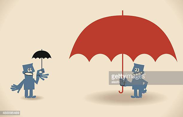 People with big and small umbrellas