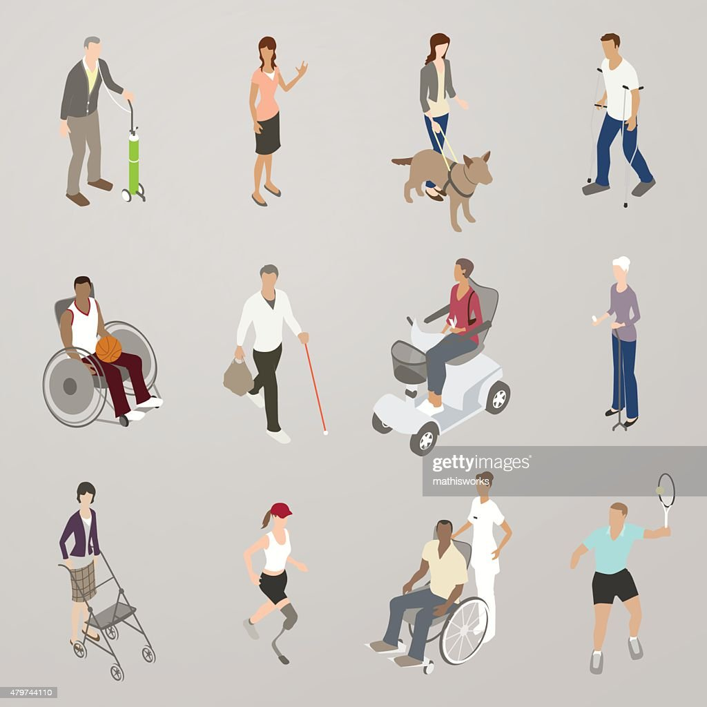 People with Disabilities Illustration : Stock Illustration