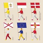 People with flags - Vatican, Monaco, Malta, Jersey, Guernsey, EU