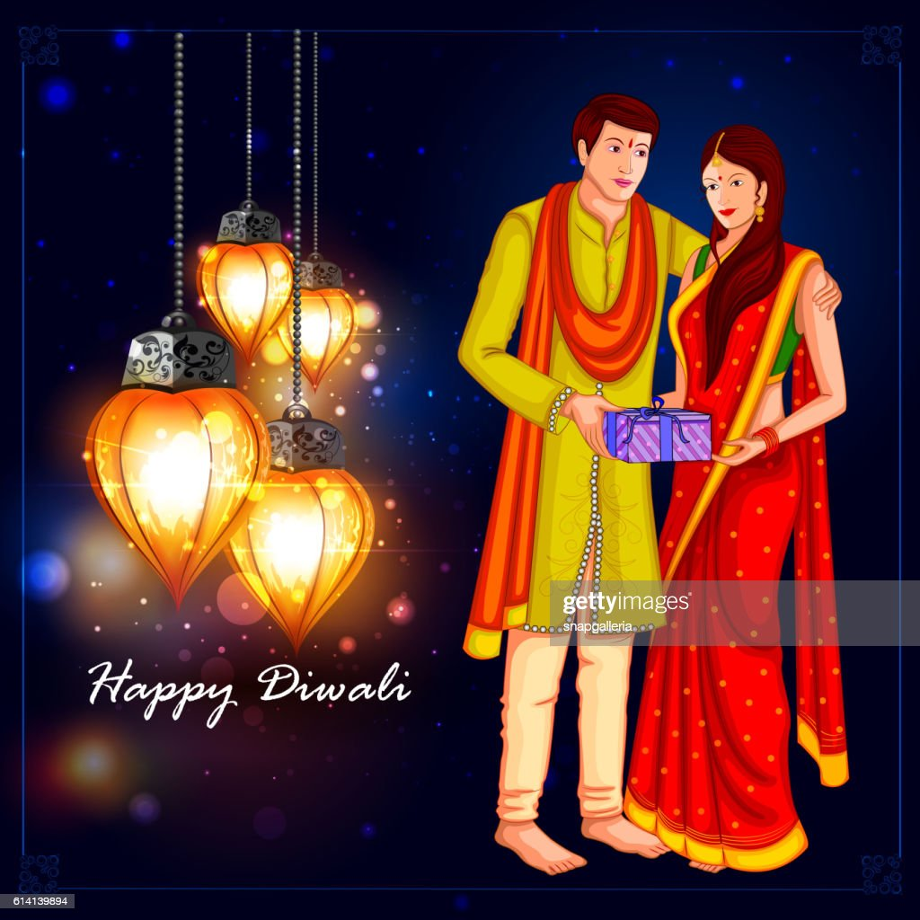 People with gift for Happy Diwali holiday background