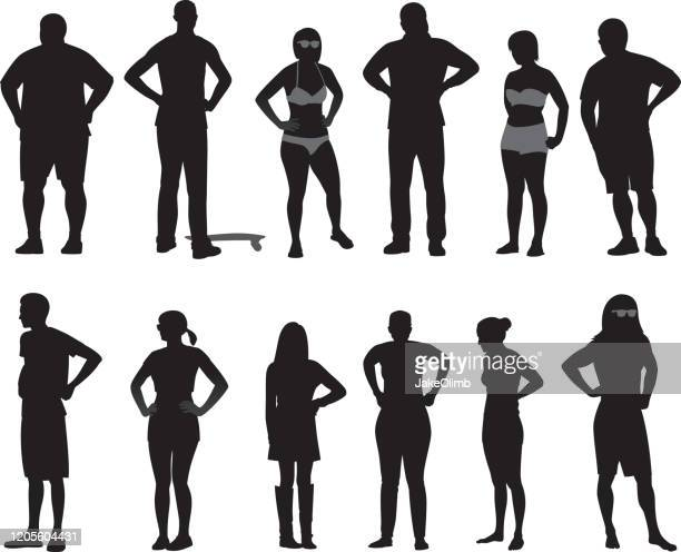 illustrazioni stock, clip art, cartoni animati e icone di tendenza di people with hands on hips silhouettes 2 - collezione