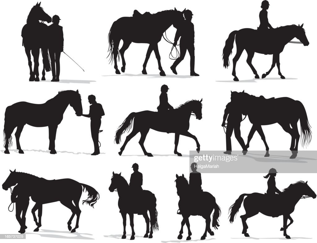 People with horses Silhouette Set