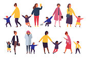 People with kids. Busy parents with naughty children. Vector illustration.