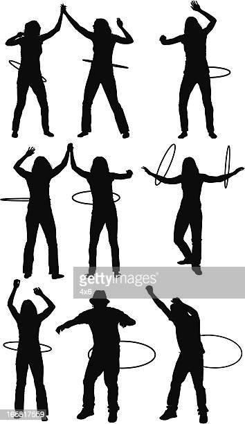 stockillustraties, clipart, cartoons en iconen met people with plastic hoops - match sport