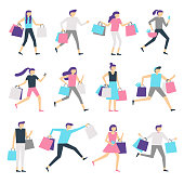 People with shopping bags. Shopaholic man and excited woman carrying bag. Happy people buy presents on sale vector characters set