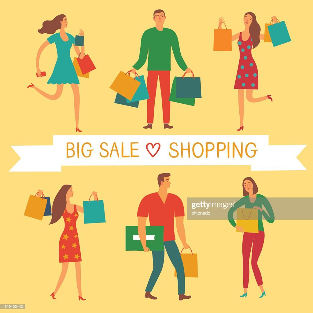 People with shopping bags with love shopping title