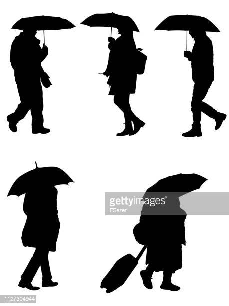 people with umbrellas - rainy season stock illustrations, clip art, cartoons, & icons