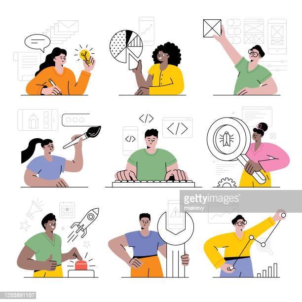 ilustrações, clipart, desenhos animados e ícones de pessoas trabalhando - desenvolvimento