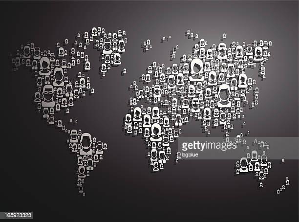 bildbanksillustrationer, clip art samt tecknat material och ikoner med people world map - national team