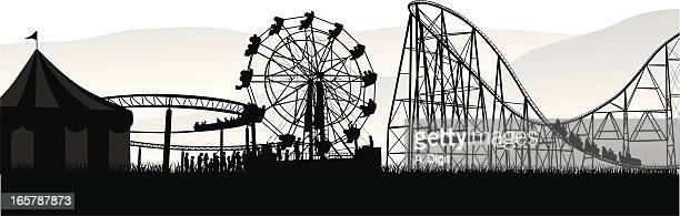 people'n rides vector silhouette - fairground stock illustrations