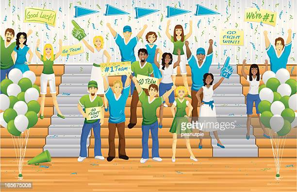 pep rally fans - pep rally stock illustrations, clip art, cartoons, & icons