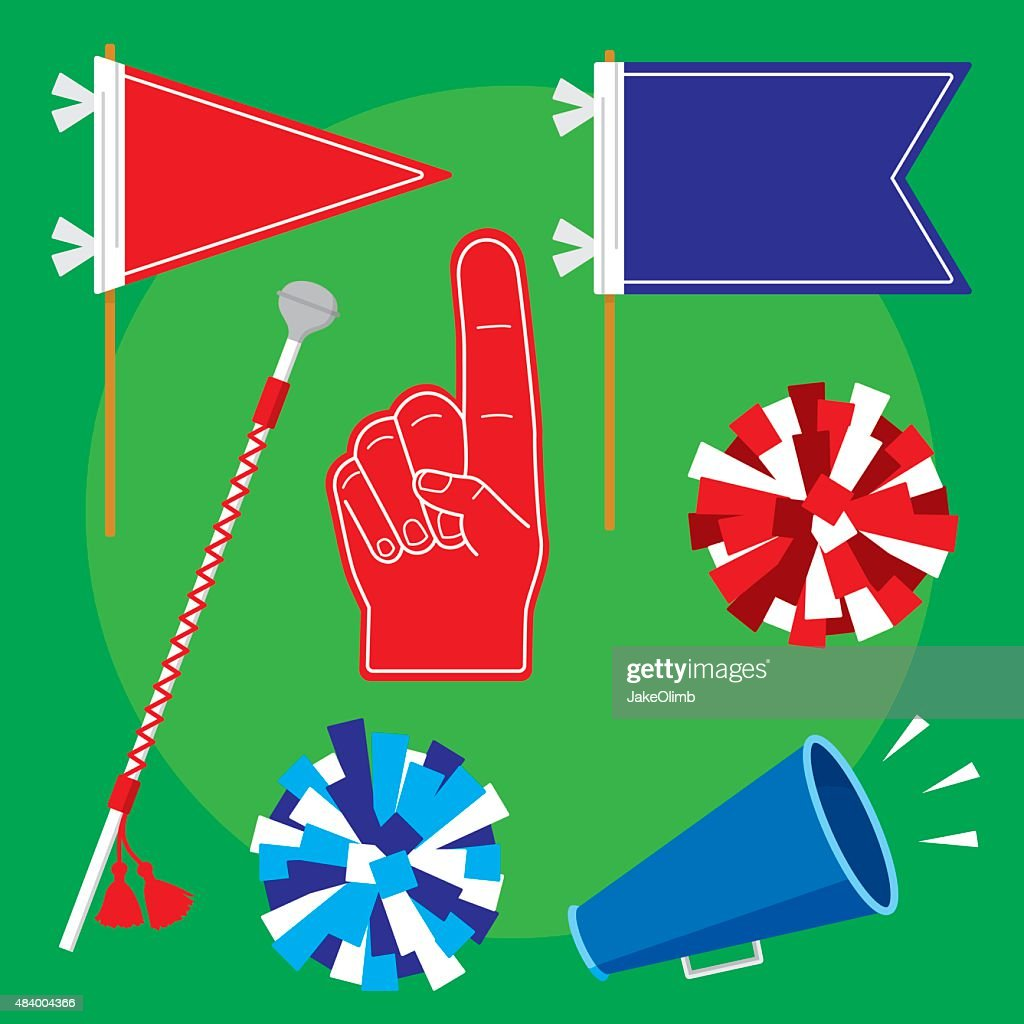 Pep Rally Items Flat Set : stock illustration