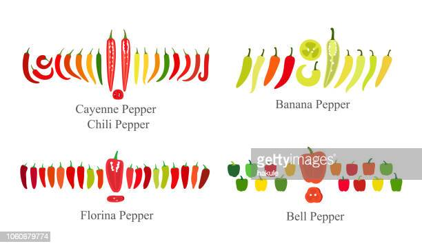 pepper flat icon set  vector illustration