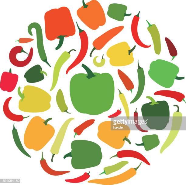 pepper icon set, vector illustration