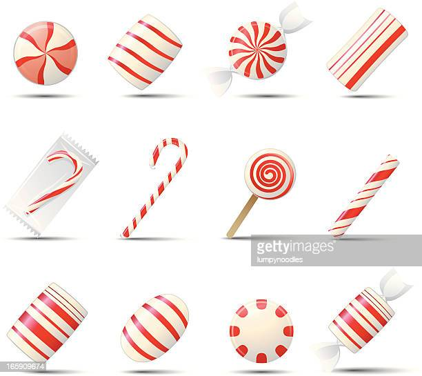 peppermint candy icons - candy cane stock illustrations