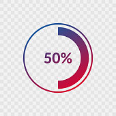 50 percent blue and red gradient pie chart sign. Percentage vector infographic symbol. Circle icon isolated on transparent background, illustration for business, download, web design