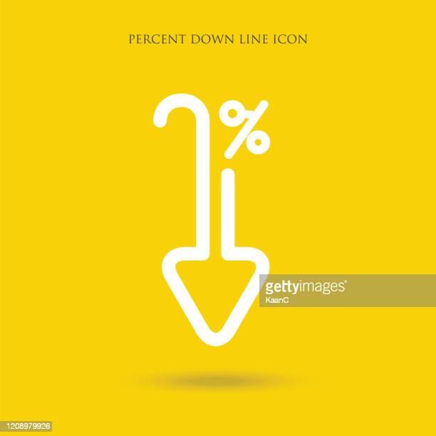 prozent-down-line-symbol isoliert auf weißem hintergrund. vektor-illustration. - zinssatz stock-grafiken, -clipart, -cartoons und -symbole
