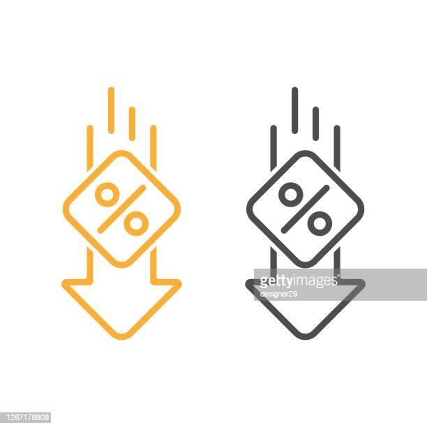 percent down line icon vector design. - low stock illustrations