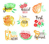 Percent Fresh Juice Promo Signs Colorful Set