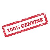100 Percent Genuine inscription in rectangle frame. Red ink rubber stamp with rough texture.