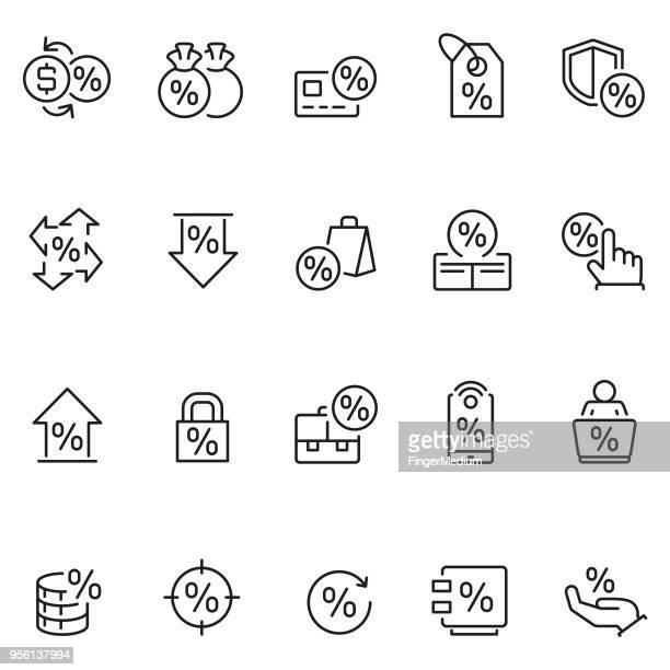 percent icon set - interest rate stock illustrations