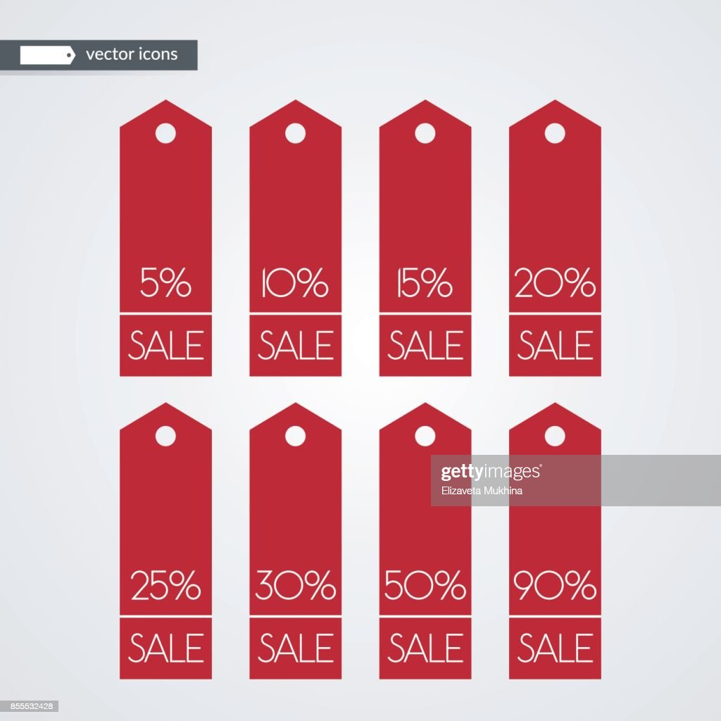 5 10 15 20 25 30 50 90 percent off shopping tag vector icons. Isolated discount symbols. Illustration signs set for sale, advertisement, marketing project, business, retail, wholesale, shop, store
