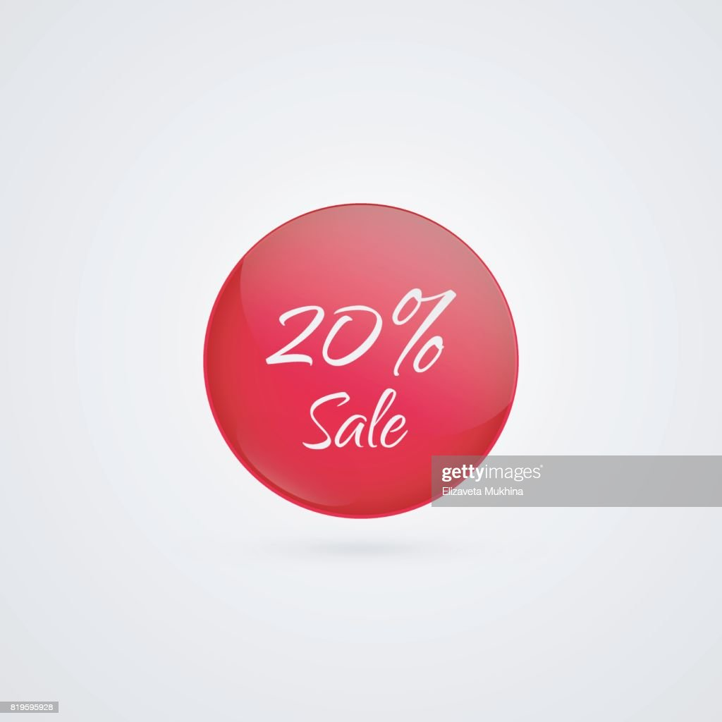 20 percent off vector circle icon. Red and white isolated discount symbol. Illustration sign for sale, advertisement, marketing project, business, retail, wholesale, shopping, commerce, finance, label, merchandise, product
