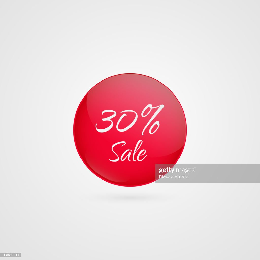 30 percent off vector circle icon. Red and white isolated discount symbol. Illustration sign for sale, advertisement, marketing project, business, retail, wholesale, shopping, commerce, finance, label