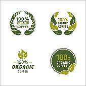 100 percent organic coffee logo and sign
