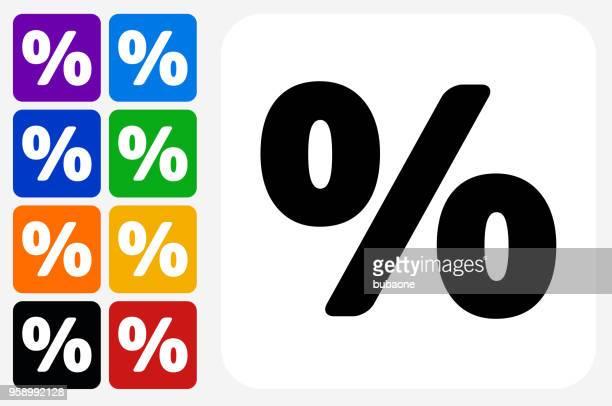percent sign icon square button set - percentage sign stock illustrations