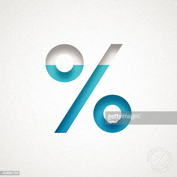Percent Symbol - % - Blue Symbol on Watercolor Paper