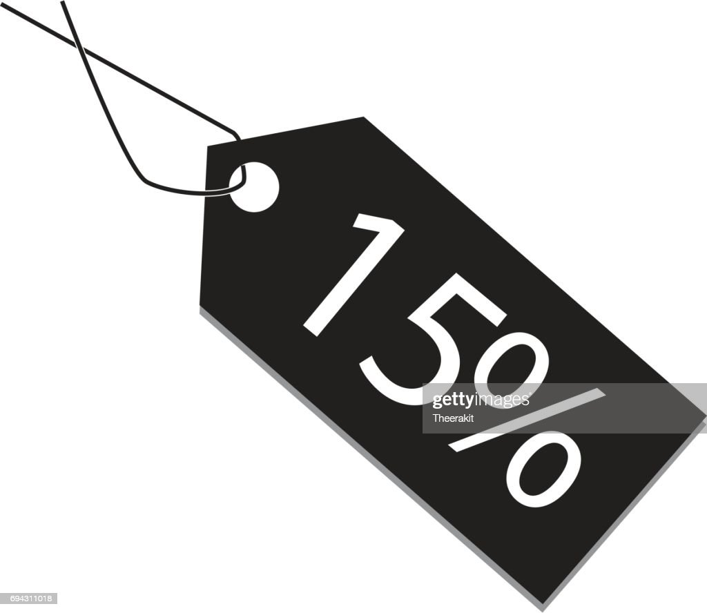 15 percent tag on white background. 15 percent tag sign.