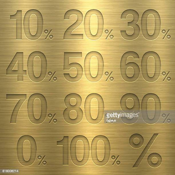 percentage from 0 to 100%. numbers on gold metal texture - sheet metal stock illustrations, clip art, cartoons, & icons