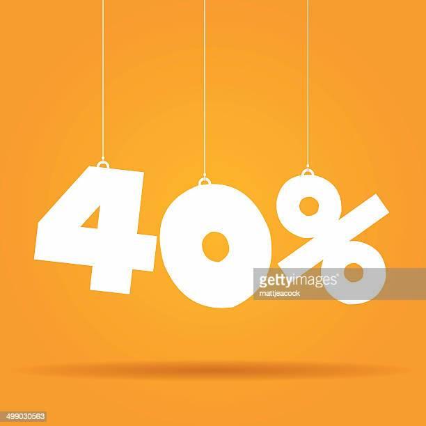 垂れ下がるラベル比率 - 数字の40点のイラスト素材/クリップアート素材/マンガ素材/アイコン素材