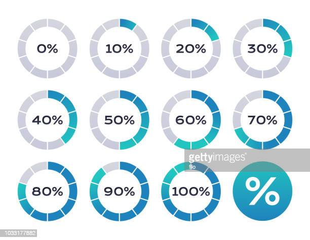 percentage loading circles - diagram stock illustrations