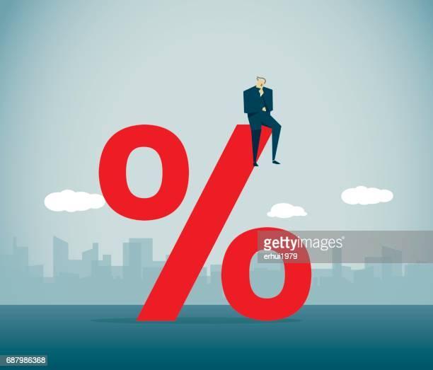 percentage sign - subprime loan crisis stock illustrations