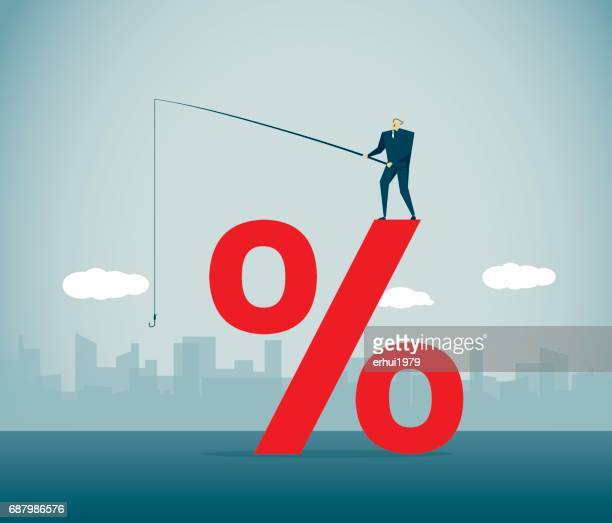 percentage sign - interest rate stock illustrations