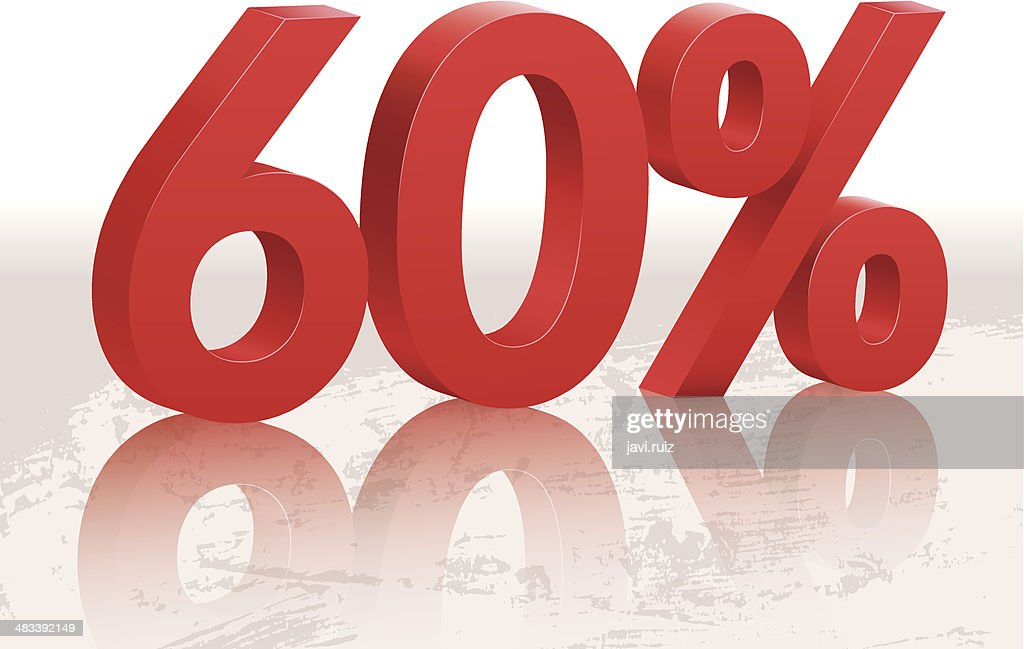 60 percents discount symbol with reflection