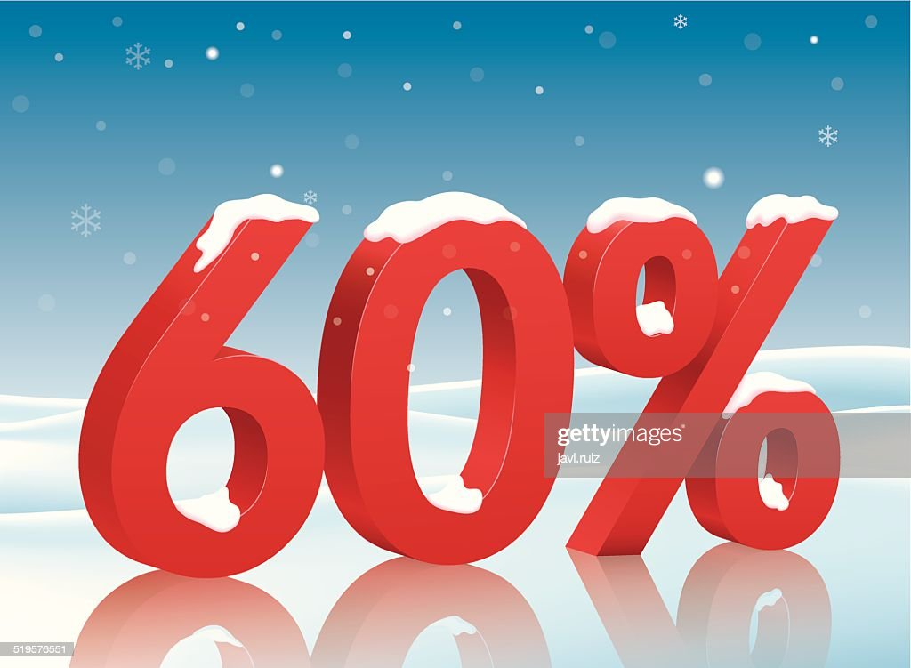 60 percents discount symbol with snow
