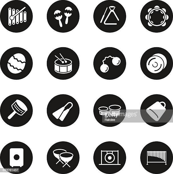percussion music icons - black circle series - classical theater stock illustrations, clip art, cartoons, & icons