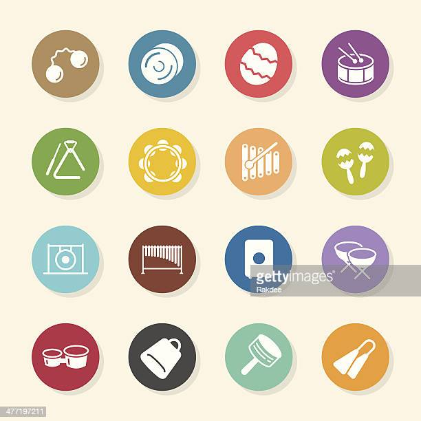 percussion music icons - color circle series - drum percussion instrument stock illustrations, clip art, cartoons, & icons