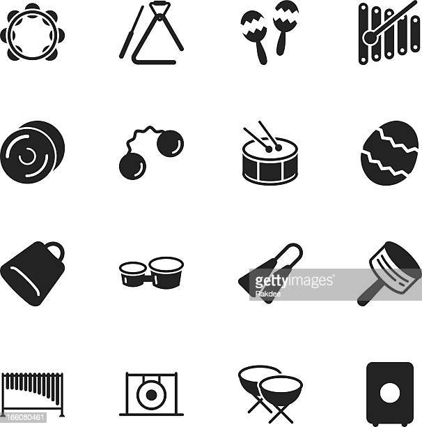percussion music silhouette icons - drum percussion instrument stock illustrations, clip art, cartoons, & icons