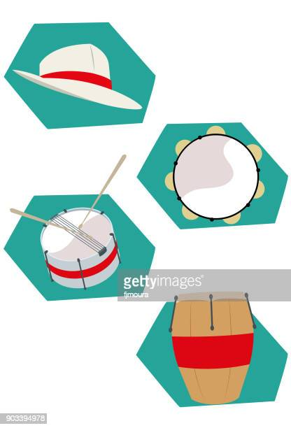 instrumentos musicais de percusão - samba stock illustrations